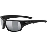 Uvex 222 Polarized Sunglasses - Black Matte (Polarized Mirror Silver Lenses)
