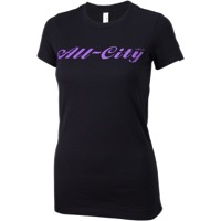 All-City Script Logo Womens T-Shirt - Black/Purple