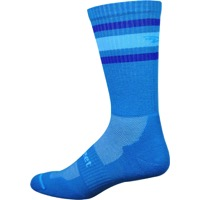 Defeet D-Evo Crew Socks - Process Blue/Blue Stripes