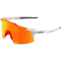 100% SpeedCraft Sunglasses - White/Neon Orange/HiPER Red Multilayer Mirror Lens