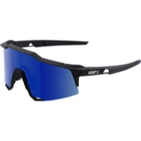 100% SpeedCraft Sunglasses - Soft Tact Black/Ice Blue Mirror Lens