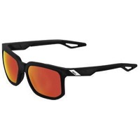 100% Centric Sunglasses - Crystal Black and Red/HiPER Red Mirror