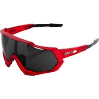 100% Speedtrap Sunglasses - Matte Red Matte Black Frame/Black Mirror Lens