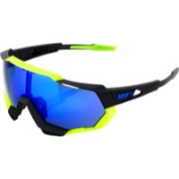 100% Speedtrap Sunglasses - Polished Black Neon Yellow/Electric Blue Mirror Lens