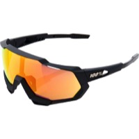 100% Speedtrap Sunglasses - Soft Tact Black/HiPER Red Multilayer Mirror Lens