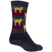 SockGuy Catz Wool Socks - Grey/Yellow/Red