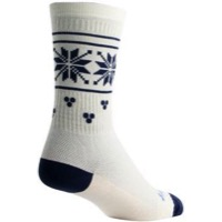 SockGuy Holly Day Wool Socks - White/Navy