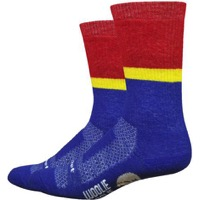 "DeFeet Woolie Boolie 6"" Rover Socks - Royal/Red/Gold"