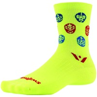 Swiftwick Vision Five Luchador Socks - Hi-Vis Yellow/Red