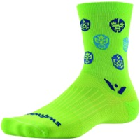 Swiftwick Vision Five Luchador Socks - Neon Green/Navy