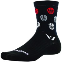 Swiftwick Vision Five Luchador Socks - Black/White