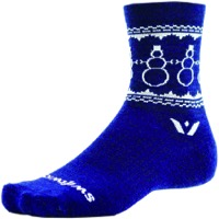 Swiftwick Vision Five Snowman Wool Socks - Navy/White