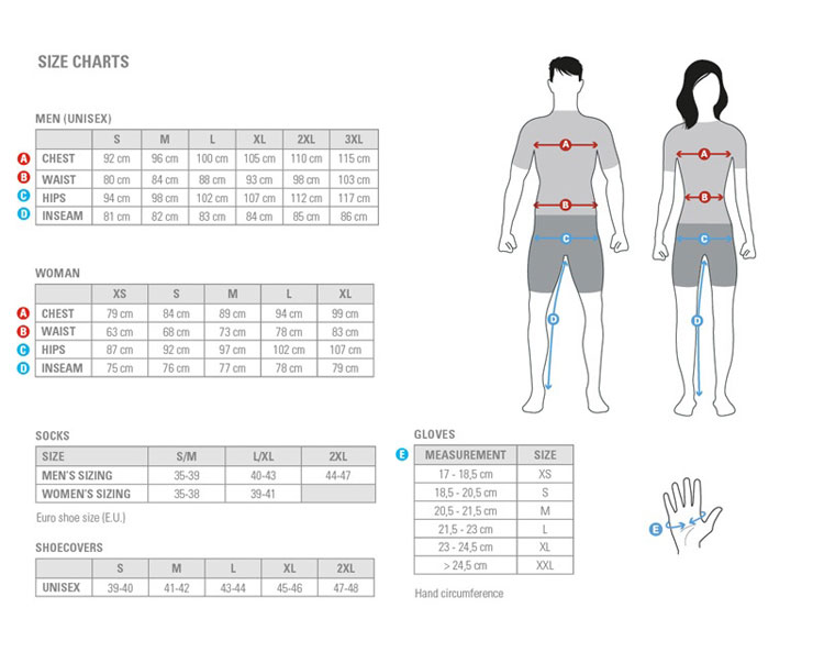 Sizing chart for Castelli