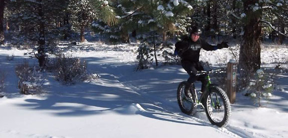 Mike riding in the snow!